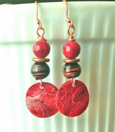 Copper wire black/red swirl & red glass beads, copper discs, red mussel shell drop dangle earrings. FOR SALE. Please visit my ebay page to see all of my earrings for sale: www.ebay.com/...?::