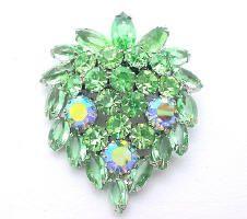 Vintage Costume Jewelry Green Rhinestone Brooch