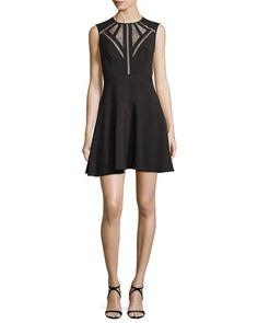 Aynn+Pointelle-Inset+Cocktail+Dress,+Black+by+BCBGMAXAZRIA+at+Neiman+Marcus.