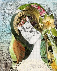 Terra (fine art print) Terra mixed media collage art by Jenndalyn<br> A mixed media collage portrait of a female face, inspired by nature and mother earth, perfect for a woodland decorating theme. Collage Portrait, Painting Collage, Portraits, Abstract Portrait, Portrait Paintings, Painting Abstract, Acrylic Paintings, Art Paintings, Chalk Pastel Art