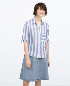 BLUE WIDE STRIPED SHIRT-Tops-WOMAN | ZARA United States