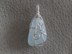 hand picked genuine sea glass, hand wrapped with non-tarnish silver wire - pale blue/aqua hue Tarnished Silver, Hand Wrap, Sea Glass, Hue, Frost, Gems, Jewels, Personalized Items, Beach