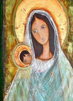 Original Old World Madonna  Painting on 18 x 24 by FlorLarios