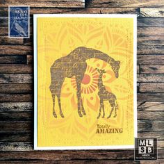 I just received this wonderful set of stamps called Half Sheet and I had to immediately use the wonderful giraffe images. Giraffe Images, Distress Oxide Ink, Petunias, Baby Cards, Pumpkin Carving, I Card, Vintage Photos, Stencils, Paper Crafts