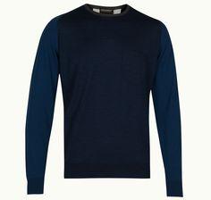 Contrast Pullover In Indigo John Smedley X Universal Works- the best of luxury British menswear.