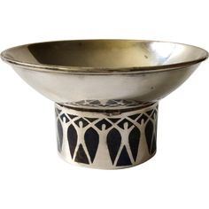 Los Castillo Taxco Handwrought MidCentury Modernist Silverplate Bowl with Inlaid Lapis