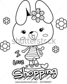 Cartoon fashion rabbit girl outlined vector.