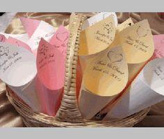 paper cones wedding. petal toss cones - reception decor moments of elegance paper wedding