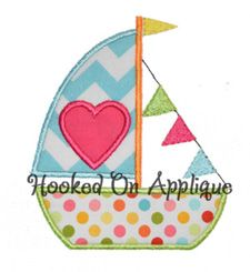 Heart Sailboat applique from Hooked On Applique!