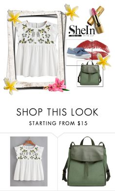 """""""Flower Embroidered Buttoned Keyhole Ruffle Babydoll Top"""" by anchesky23 ❤ liked on Polyvore featuring Skagen, Avon and Nine West"""