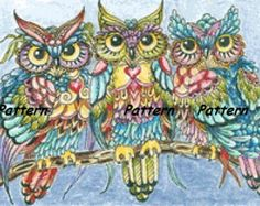 Three owls. Cross Stitch Pattern. PDF Files.