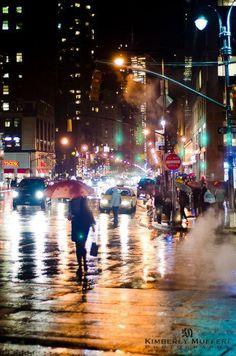 Rain city by night