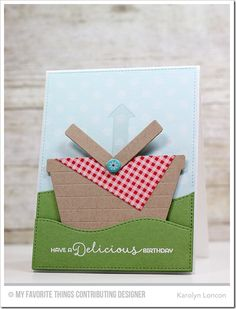 Delicious Birthday, Polka Dot Background, Blueprints 13 Die-namics, Gift Card Grooves Die-namics, Picnic Basket Die-namics, Stitched Snow Drifts Die-namics - Karolyn Loncon  #mftstamps
