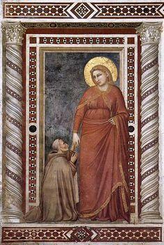 Giotto, Assisi, Basilica Inferiore, Cappella della Maddalena, Il vescovo Pontano e la Maddalena