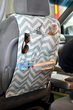 sewn car organizer- I will need one of these very soon! I definitely need some chevron fabric!!