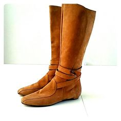 JIMMY CHOO SUEDE BOOTS CAMEL COLORED SUEDE JIMMY CHOO BOOTS WITH BRONZED/WOODEN BONE CHARM. THESE BOOTS ARE IN LOVELY SHAPE WITH ONLY VERY MILD WEAR. Jimmy Choo Shoes Combat & Moto Boots