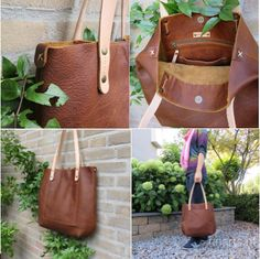 Leather tote bag BIG City in vegetable tanned Italian by rinarts
