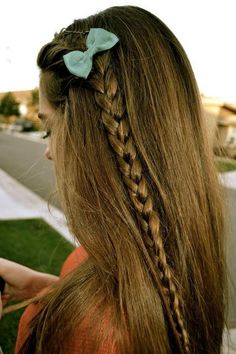 long hair braided with bow