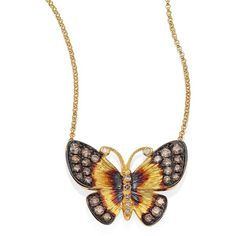 Annoushka Butterflies Diamond & 18K Yellow Gold Pendant Necklace ($3,200) ❤ liked on Polyvore featuring jewelry, necklaces, apparel & accessories, gold, butterfly necklace, butterfly pendant necklace, diamond necklace, gold fine jewelry and diamond pendant necklace