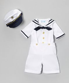 White Nautical Shortalls Set - Infant & Toddler by Angels New York #zulily #zulilyfinds