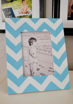 DIY Chevron Frame. How cute would this be with glitter?