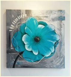Turquoise bloem schilderij op 3d doek 80x80cm  Www.creativeartbyjessica.nl