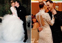 Nicole Richie wore a long-sleeved high-necked lace Marchesa wedding dress inspired by Grace Kelly. The gown featured a ball-gown skirt crafted from more than 100 yards of hand-draped silk organza and tulle petals.
