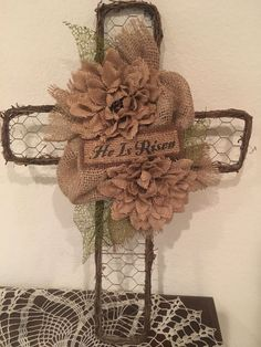 Primitive Grapevine Chicken Wire Easter Cross HE IS RISEN Burlap Flowers by PrimitivePics on Etsy