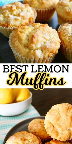 These easy bakery style lemon muffins are a perfect way to start the day. Made with fresh lemons these are rich and cake-like. These easy bakery style lemon muffins are a perfect way to start the day. Made with fresh lemons these are rich and cake-like. Simple Muffin Recipe, Healthy Muffin Recipes, Healthy Muffins, Fruit Recipes, Brunch Recipes, Baking Recipes, Breakfast Recipes, Dessert Recipes, Muffin Recipies