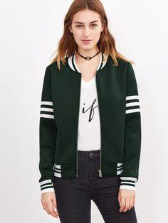 Dark Green Striped Trim Zip Up Bomber Jacket
