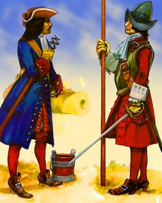 Spanish artillery officer and pikeman, War of the Spanish Succession