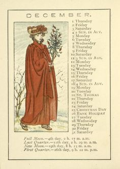 December calendar page by Kate Greenaway (1846-1901) from 'Almanack for 1892.' Image and text courtesy NYPL Digital Gallery.