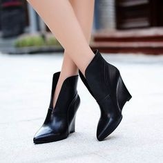 2014  hot fashion wedge boots ladies' shoes 10cm high heels  sexy ankle boots genuine leather autumn winter wedding heels shoes