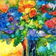 Love her use of color!!   FREE SHIPPING - Flower Bouquet, Vase, Flowers - Limited Edition Print from my Original Watercolor   Painting - ebsq Artist Ricky Martin. $15.00, via Etsy.