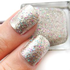 Gold Base with Pink and Blue Glitter Nail Polish