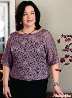 Очень элегантный пуловер с красивым узором. Спицы.