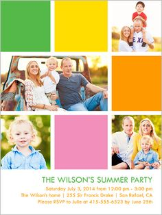 Bright Blocks Summer Summer Invitation, Square