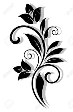 Abstract floral pattern in vintage style for design. Vector version also available in gallery Stencil Patterns, Stencil Designs, Designs To Draw, Drawing Designs, Folk Art Flowers, Flower Art, Stencil Painting, Fabric Painting, Bird Silhouette Art