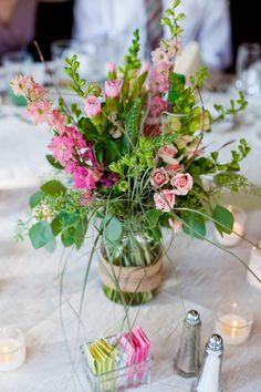 Rustic, romantic centerpiece flowers in mason jar