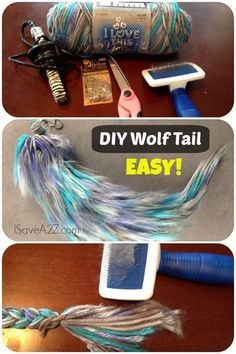 DIY Cosplay Costume Furry Wolf Tail Tutorial - Made with YARN! So easy!DIY Animal Crafts: Halloween Animal Costumes, Mask and Stuffed Toys - Diy Food Garden & Craft IdeasCostume Wolf Tail Tutorial - could work for a cheshire cat cosplayChevron Seven Is Lo Cosplay Tutorial, Cosplay Diy, Cosplay Costumes, Costume Tutorial, Cosplay Ideas, Diy Tutorial, Grease Costumes, Woman Costumes, Earring Tutorial