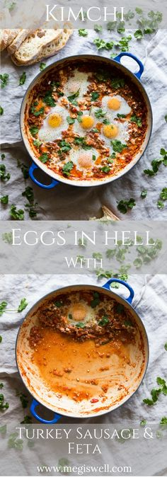 Kimchi Eggs in Hell with Turkey Sausage and Feta is an easy one-skillet remix of a classic. Instead of using pepper spices to get that fiery look and taste, this recipe uses kimchi. | www.megiswell.com