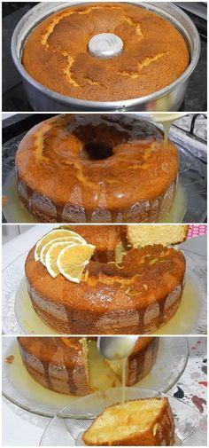Receita de Bolo de Laranja com Calda, uma delícia! #laranja #bolo #doces #receita #gastronomia #culinaria #comida #delicia #receitafacil