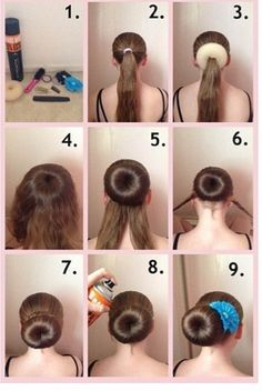 Image result for how to properly use a bun donut long hair