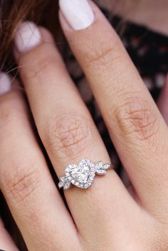 Heart Diamond Engagement Ring, Heart Shaped Diamond Ring, Heart Shaped Engagement Rings, Heart Wedding Rings, Vintage Engagement Rings, Diamond Rings, Ring Engagement, Heart Ring, Cute Promise Rings