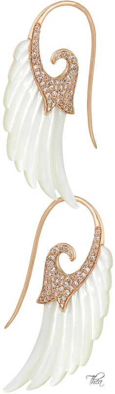 Noor Fares ● Wing 18-karat rose gold, mother of pearl and diamond earrings$20,180