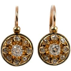 Victorian Old Mine Cut Diamond Cluster Earrings | See more rare vintage Drop Earrings at http://www.1stdibs.com/jewelry/earrings/drop-earrings