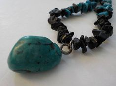 Jewelry SALE One Turquoise Nugget Necklace Elastic Necklace