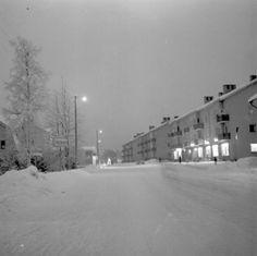 This was it - winter...  The main street, Köpmangatan. running through... Timrå 1960'ies.
