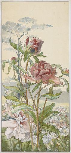 HENRI PRIVAT-LIVEMONT Quatre Planches Fleurs Décoratives: Chrysanthèmes, Iris, Pivoines et Tulipes. Set of 4 color lithographs on smooth...