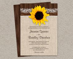 Printable #Rustic Sunflower #Wedding Invitation by iDesignStationery, $14.95
